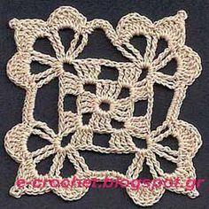 Crochet Edgings Design Classic motif 2 - seamless crochet with edge variations Filet Crochet, Beau Crochet, Mode Crochet, Crochet Lace Edging, Crochet Motifs, Crochet Blocks, Granny Square Crochet Pattern, Crochet Diagram, Crochet Squares