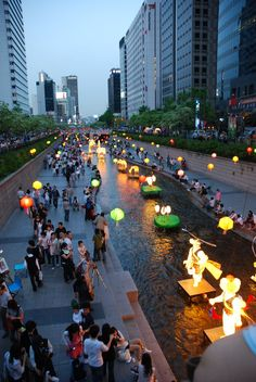 Lantern festival celebrating Buddhas coming at Cheonggyecheon - recreation space in downtown Seoul, South Korea.