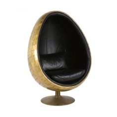 Black Leather Industrial Egg Armchair Coquille on Maisons du Monde. Take your pick from our furniture and accessories and be inspired! Find Furniture, Living Furniture, Unique Furniture, Pod Chair, Polywood Adirondack Chairs, Industrial Dining Chairs, Small Cushions, Used Chairs, Sofa Styling