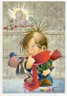 Simpatica postal: niño y su perro. Editada en el año 1967 Gabriel, Cool Clipart, Vintage Boys, Children's Book Illustration, Book Illustrations, Picture Postcards, Tatty Teddy, Big Eyes, Cartoon Drawings
