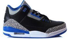 8f41c8243b21 Authentic 136064-007 Air Jordan 3 Retro Black Sport Blue-Wolf Grey http