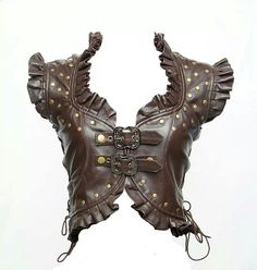 Brown leather steampunk vest.