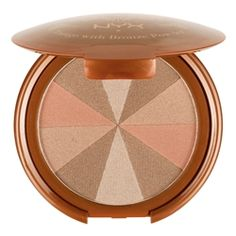 tango with bronzing powder NYX. Shimmer, matte, light-med tan, coral pop. What more could you ask for?  Oh, & it's $10!!