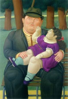 """Fernando Botero Angulo (born 1932) is a figurative artist and sculptor from Medellín, Colombia. He illustrates children as """"small"""" adults. He depicts people and figures in large, exaggerated shapes."""
