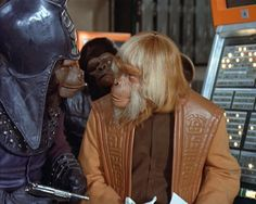 "Chief of Security Urko (Mark Lenard) and Zaius (Booth Coleman) - Planet of the Apes: The TV Series, ""The Legacy"" (First Broadcast: October Fallout 3, Planet Of The Apes, Iconic Movies, Original Movie, Classic Films, Movies And Tv Shows, Science Fiction, Movie Tv, Tv Series"