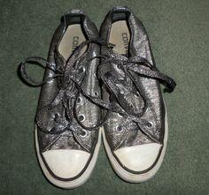 Women's Silver Sparkle CONVERSE ALL STAR Fashion Sneaker Shoes, Size 5, GUC! #CONVERSEALLSTAR #FashionSneakersAthleticShoesSilverSparkle