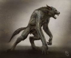 A partially shifted werewolf about halfway between his human and wolf form, ready to eviscerate some zombies.