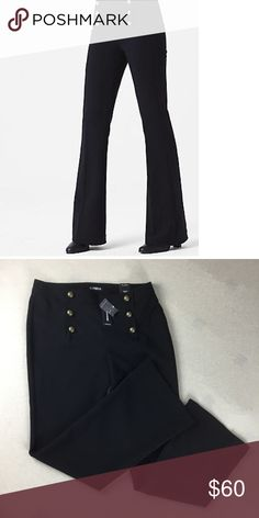 Express mid rise trouser Size 10 Black Express Women's mid rise sailor flare pants. Black. Domed button accents. Style for work or play. Express Pants Trousers