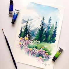 Mt. Rainier sketch #watercolor #watercolour #aquarelle #sketch #landscape #mountains #Rainier ...