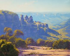 Three Sisters Katoomba, NSW by artsaus. Paintings by Graham Gercken (artaus on deviantART) are all in Oil on linen canvas using both brush and palette knife.