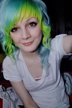 green & blue. Haven't had my hair funky colored in years but this is cute! :)
