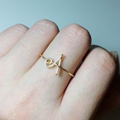 Personalized Non-Adjustable Sterling Silver Gold Filled Initial ring letter ring/knuckle mid ring/name/bridesmaid jewelry/wedding gift ideas Copper Jewelry, Cute Jewelry, Jewelry Logo, Mid Rings, Stylish Alphabets, Jewelry Patterns, Bridesmaid Jewelry, Indian Jewelry, Ring Designs