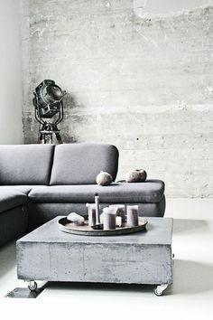 Stylish and inspiring industrial living room designs 17 Concrete Interiors, Concrete Furniture, Living Room Designs, Living Room Decor, Living Rooms, Concrete Coffee Table, Coffee Tables, Concrete Slab, Concrete Jungle