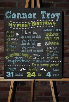 Custom Printable First Birthday Little Man Mustache Board Poster via Etsy