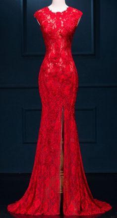 Long prom dress, mermaid prom dress, sexy red lace prom dress, side slit prom dress, dresses for prom, evening dresses, formal dresses,PD190476