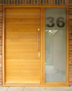 Front door with etched number