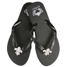 """How about some Rubber Flip Flops w/ Rhinestone Conchos - Clear Rhinestone Fleur $25.00 + Free shipping when you enter the coupon code """"PINTEREST"""" during  checkout online.#fleurdelis #LSU #LA #madeinusa #fashion"""