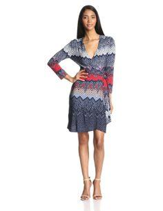 BCBG MAX AZRIA - Vestido envolvente con estampado azteca de manga larga para mujer: Amazon.es: Ropa y accesorios