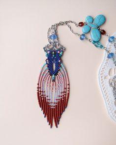 Unique micro macrame necklace pendant Blue by MartaJewelry.