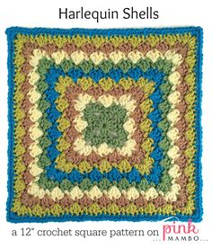 """Here's a lovely 12"""" square pattern for all your crochet-alongs! It can also be made smaller if you fancy a 6"""", 8"""" or 10"""" square. This square is made with 3-double crochet shells that form a sort of..."""