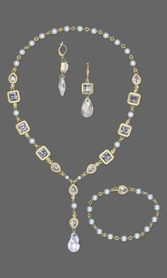 Single-Strand Necklace, Bracelet and Earring Set with SWAROVSKI ELEMENTS and Gold-Plated Brass Clasps