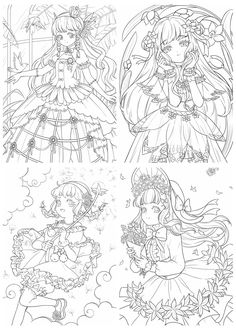 Detailed Coloring Pages, Cute Coloring Pages, Flower Coloring Pages, Adult Coloring Pages, Cute Flower Drawing, Flower Drawing Tutorials, Manga Coloring Book, Coloring Books, Lineart Anime