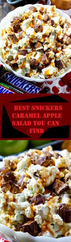 Caramel Apple Salad Snickers Caramel Apple Salad- the best fall potluck recipe!Snickers Caramel Apple Salad- the best fall potluck recipe! Apple Recipes, Fall Recipes, Holiday Recipes, Köstliche Desserts, Dessert Recipes, Desserts Caramel, Apple Desserts, Snickers Caramel Apple Salad, Caramel Apples