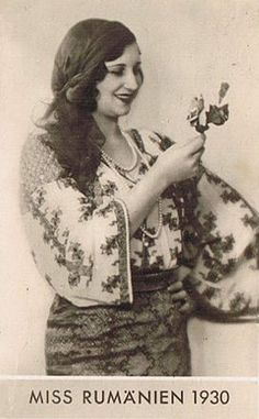 Miss Romania 1930 wearing ethnic handmade blouse! Frankenstein Costume, Young Frankenstein, Romania People, Romanian Girls, Tarzan, Roosevelt, Timeless Beauty, European Fashion, Roxy