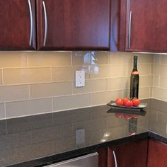 glass subway tile kitchen backsplash | Kitchen backsplash and bathroom tile ideas with beige glass subway ...