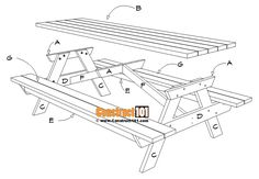 8 Foot Picnic Table Plans | DIY Projects - Construct101 Folding Picnic Table Plans, Diy Picnic Table, Camping Table, Diy Table, Diy Wood Projects, Furniture Projects, Palette Diy, Outdoor Furniture Plans, Pocket Hole Screws