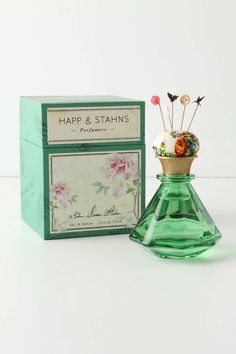 beautiful scent bottle with hair pins and cushion