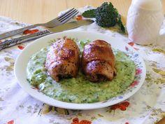 Makacska konyhája: Göngyölt nyúlhús brokkolimártással Chicken, Meat, Food, Eten, Meals, Cubs, Kai, Diet