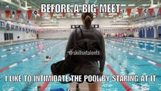 I do this at every swim meet Swimming Funny, I Love Swimming, Competitive Swimming, Synchronized Swimming, Swim Team Quotes, Swimmer Quotes, Swimmer Problems, Girl Problems, Swimming Motivation