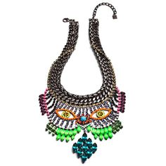 Betty Davis bib necklace with gunmetal plated chains and multicolored crystals by Mr. Dannijo ( Man Repeller x Dannijo )