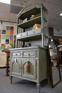 Painted Hutch In CeCe Caldwell Smoky Mountain Gray - furniture - detroit - by Fabulous Finishes Inc