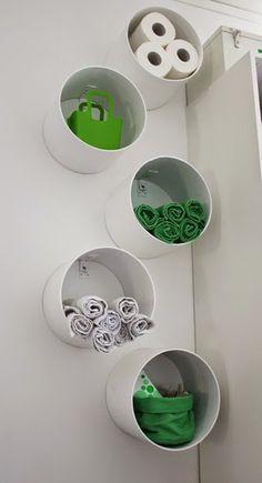 Como usar tubos de pvc como organizadores de banheiro ou lavabo ~ VillarteDesign Artesanato