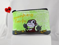 Monkey Farts Coin Purse  Zipper Pouch by tamarakraft on Etsy, $9.95
