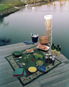 Publication: House & GardenImage Type: PhotographDate: June A picnic set up on a dock over water. Summer Dream, Summer Fun, Summer Time, Summer Dates, Dream Dates, Cute Date Ideas, Picnic Date, Night Picnic, Outdoor Movie Nights