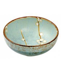 Soshun cherry blossom side dish stoneware bowl - Japanese ceramics