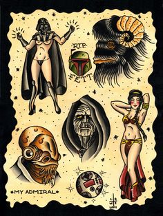 Old School Star Wars Tattoo Flash Art
