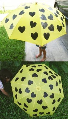 Liven up a boring umbrella with a Sharpie and black paint.