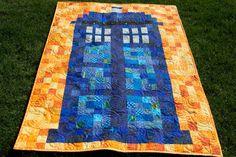 piecedgoods, Tardis Quilt, patchwork Tardis, Quilt Tardis