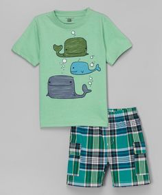 Look at this Kids Headquarters Green Whale Tee
