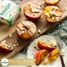 Grilled peaches and Boursin cheese are the perfect Summer Solstice party dessert. Quick Healthy Meals, Healthy Family Meals, Healthy Recipes, Boursin Cheese, Perfect Grill, Cheese Stuffed Peppers, Grilled Peaches, Party Desserts, Summer Solstice