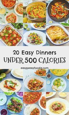20 Easy Dinners Under 500 Calories Looking to eat more healthily this year? These 20 easy dinners are all under 500 calories per portion, but are packed with flavour, family friendly (no more cooking separate meals) and won't leave you hungry, either! 600 Calorie Dinner, 600 Calorie Meals, Dinners Under 500 Calories, No Calorie Foods, 1500 Calorie Meal Plan, Vegetarian Recipes Dinner, Healthy Recipes, Healthy Breakfasts, Vegetarian Recipes Under 500 Calories