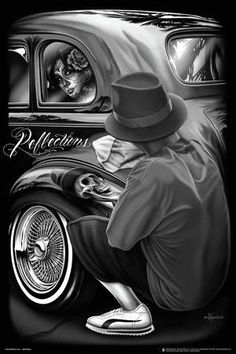 DGA Reflections David Gonzales Lowrider Chicano Artwork Homies Poster 18 x 24 Arte Cholo, Cholo Art, Chicano Art Tattoos, Chicano Drawings, Lowrider Drawings, Chicano Lettering, Arte Dope, Dope Art, Natur Tattoo Arm