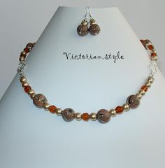 glass, pearls abd polymer clay beads set (necklace and earrings)