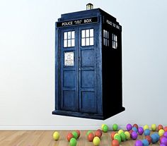 DOCTOR WHO TARDIS FULL COLOUR WALL STICKER - GIRLS BOYS BEDROOM C187 Size: Large