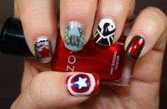 Captain America The Winter Soldier Nail Art