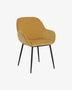 Konna chair in mustard corduroy   Kave Home Cord Cover, Relax, Steel Structure, Wooden Flooring, Main Colors, Foot Rest, Recycled Materials, Your Space, Recliner